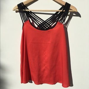 Bright Coral Bebe open back tank top